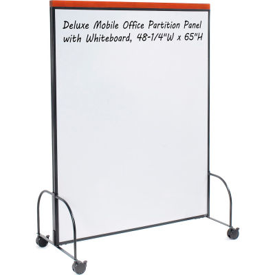 """Global Industrial™ Deluxe Mobile Office Partition Panel with Whiteboard, 48-1/4""""W x 65""""H"""