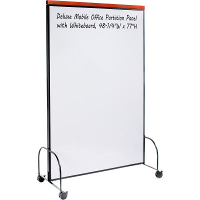 """Global Industrial™ Deluxe Mobile Office Partition Panel with Whiteboard, 48-1/4""""W x 77""""H"""
