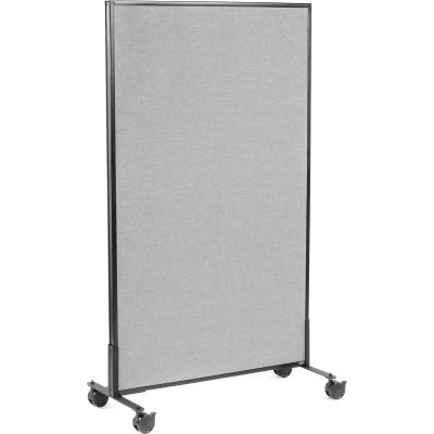 "Interion® Mobile Office Partition Panel, 36-1/4""W x 63""H, Gray"