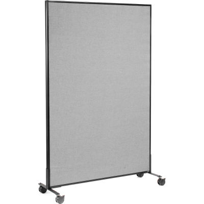"Interion® Mobile Office Partition Panel, 48-1/4""W x 75""H, Gray"
