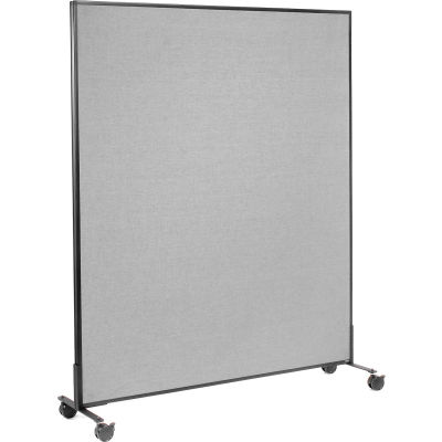"""Interion® Mobile Office Partition Panel, 60-1/4""""W x 75""""H, Gray"""