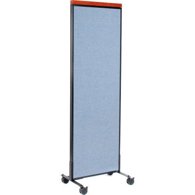 """Interion® Mobile Deluxe Office Partition Panel, 24-1/4""""W x 76-1/2""""H, Blue"""