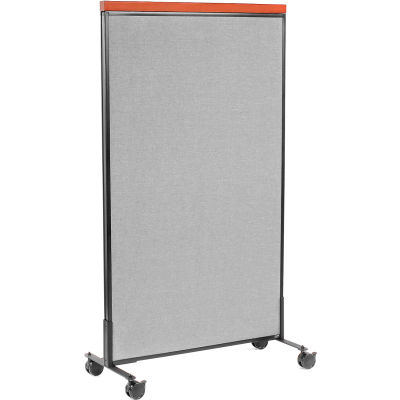 """Interion® Mobile Deluxe Office Partition Panel, 36-1/4""""W x 64-1/2""""H, Gray"""