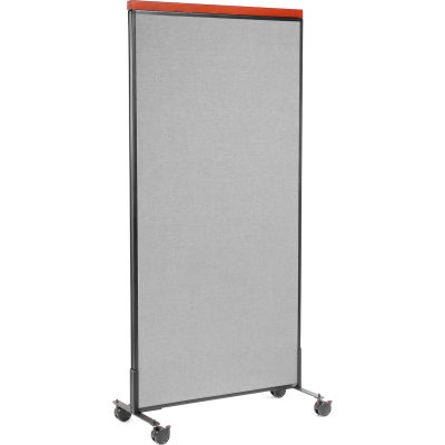 """Interion® Mobile Deluxe Office Partition Panel, 36-1/4""""W x 76-1/2""""H, Gray"""