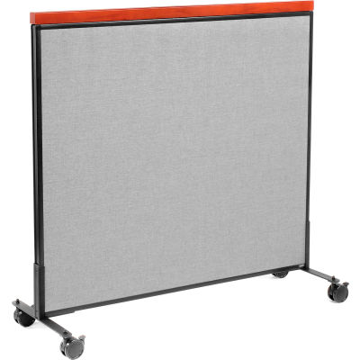 """Interion® Mobile Deluxe Office Partition Panel, 48-1/4""""W x 46-1/2""""H, Gray"""