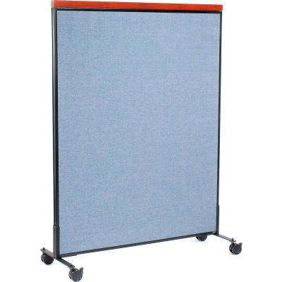 """Interion® Mobile Deluxe Office Partition Panel, 48-1/4""""W x 64-1/2""""H, Blue"""