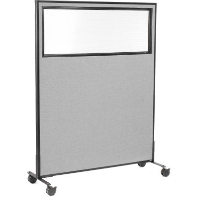 "Interion® Mobile Office Partition Panel with Partial Window, 48-1/4""W x 63""H, Gray"