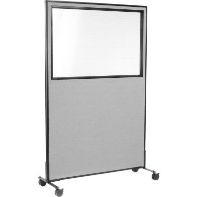 """Interion® Mobile Office Partition Panel with Partial Window, 48-1/4""""W x 75""""H, Gray"""