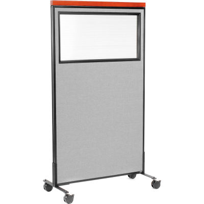 """Interion® Mobile Deluxe Office Partition Panel with Partial Window, 36-1/4""""W x 64-1/2""""H, Gray"""