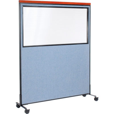 """Interion® Mobile Deluxe Office Partition Panel with Partial Window, 60-1/4""""W x 76-1/2""""H, Blue"""