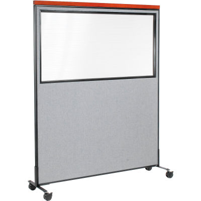 """Interion® Mobile Deluxe Office Partition Panel with Partial Window, 60-1/4""""W x 76-1/2""""H, Gray"""