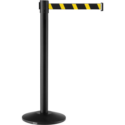 "Global Industrial™ Crowd Control Stanchion, 39""H Black Post, 7-1/2' Yellow/Black Belt - Pkg Qty 2"