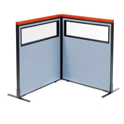 "Interion® Deluxe Freestanding 2-Panel Corner Divider w/Partial Window 36-1/4""W x 43-1/2""H Blue"