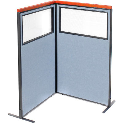 "Interion® Deluxe Freestanding 2-Panel Corner Divider w/Partial Window 36-1/4""W x 61-1/2""H Blue"