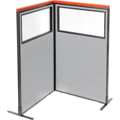 "Interion® Deluxe Freestanding 2-Panel Corner Divider w/Partial Window 36-1/4""W x 61-1/2""H Gray"