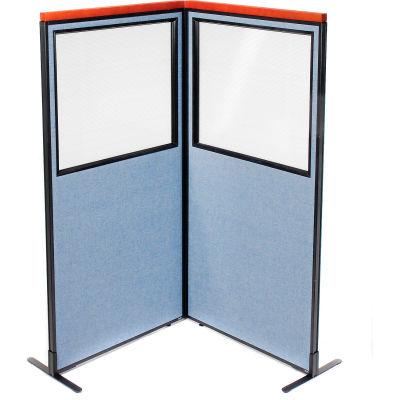 "Interion® Deluxe Freestanding 2-Panel Corner Divider w/Partial Window 36-1/4""W x 73-1/2""H Blue"