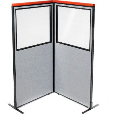 "Interion® Deluxe Freestanding 2-Panel Corner Divider w/Partial Window 36-1/4""W x 73-1/2""H Gray"