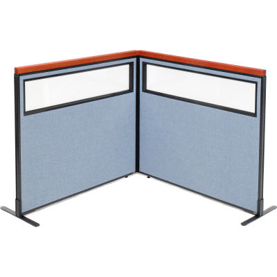 "Interion® Deluxe Freestanding 2-Panel Corner Divider w/Partial Window 48-1/4""W x 43-1/2""H Blue"