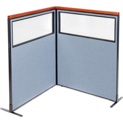 "Interion® Deluxe Freestanding 2-Panel Corner Divider w/Partial Window 48-1/4""W x 61-1/2""H Blue"