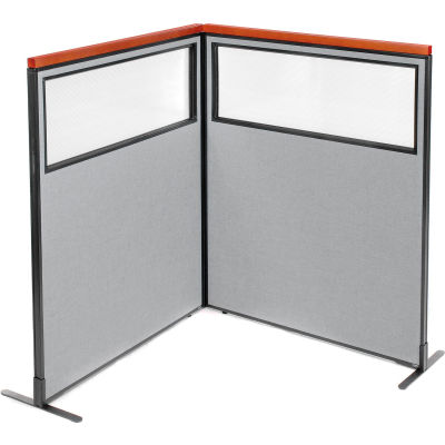 "Interion® Deluxe Freestanding 2-Panel Corner Divider w/Partial Window 48-1/4""W x 61-1/2""H Gray"