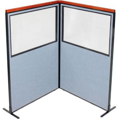 "Interion® Deluxe Freestanding 2-Panel Corner Divider w/Partial Window 48-1/4""W x 73-1/2""H Blue"