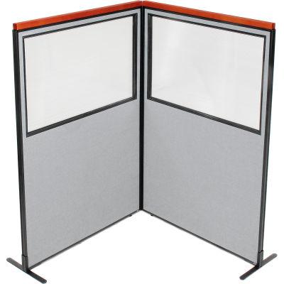 "Interion® Deluxe Freestanding 2-Panel Corner Divider w/Partial Window 48-1/4""W x 73-1/2""H Gray"