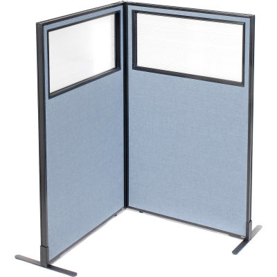 "Interion® Freestanding 2-Panel Corner Room Divider w/Partial Window 36-1/4""W x 60""H Panels Blue"