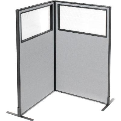 "Interion® Freestanding 2-Panel Corner Room Divider w/Partial Window 36-1/4""W x 60""H Panels Gray"