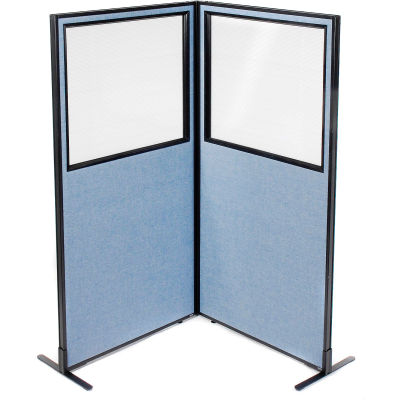 "Interion® Freestanding 2-Panel Corner Room Divider w/Partial Window 36-1/4""W x 72""H Panels Blue"