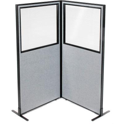 "Interion® Freestanding 2-Panel Corner Room Divider w/Partial Window 36-1/4""W x 72""H Panels Gray"