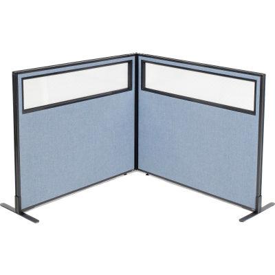"Interion® Freestanding 2-Panel Corner Room Divider w/Partial Window 48-1/4""W x 42""H Panels Blue"