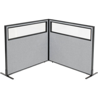 "Interion® Freestanding 2-Panel Corner Room Divider w/Partial Window 48-1/4""W x 42""H Panels Gray"