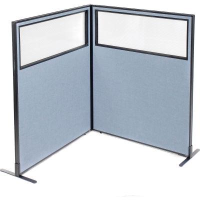 "Interion® Freestanding 2-Panel Corner Room Divider w/Partial Window 48-1/4""W x 60""H Panels Blue"