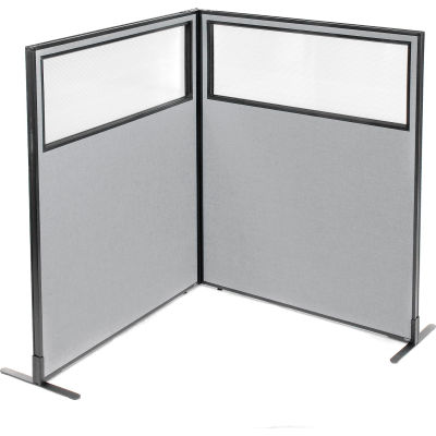 "Interion® Freestanding 2-Panel Corner Room Divider w/Partial Window 48-1/4""W x 60""H Panels Gray"