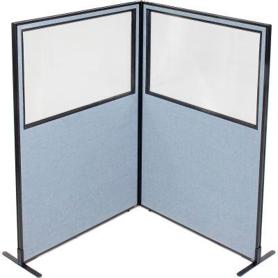 "Interion® Freestanding 2-Panel Corner Room Divider w/Partial Window 48-1/4""W x 72""H Panels Blue"
