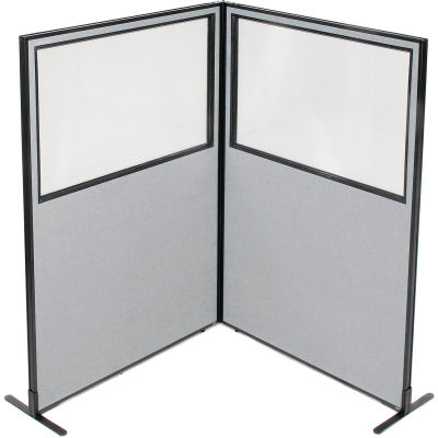 "Interion® Freestanding 2-Panel Corner Room Divider w/Partial Window 48-1/4""W x 72""H Panels Gray"