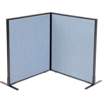 "Interion® Freestanding 2-Panel Corner Room Divider, 36-1/4""W x 42""H Panels, Blue"