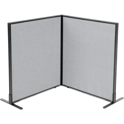 "Interion® Freestanding 2-Panel Corner Room Divider, 36-1/4""W x 42""H Panels, Gray"