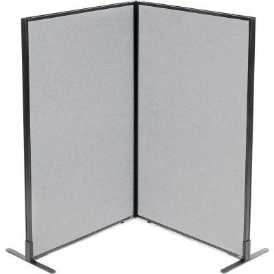 "Interion® Freestanding 2-Panel Corner Room Divider, 36-1/4""W x 60""H Panels, Gray"