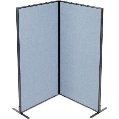 "Interion® Freestanding 2-Panel Corner Room Divider, 36-1/4""W x 72""H Panels, Blue"