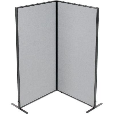 "Interion® Freestanding 2-Panel Corner Room Divider, 36-1/4""W x 72""H Panels, Gray"
