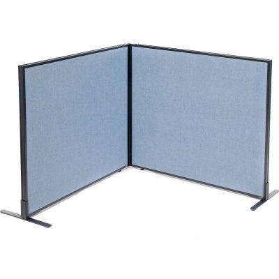 "Interion® Freestanding 2-Panel Corner Room Divider, 48-1/4""W x 42""H Panels, Blue"