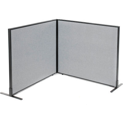 "Interion® Freestanding 2-Panel Corner Room Divider, 48-1/4""W x 42""H Panels, Gray"