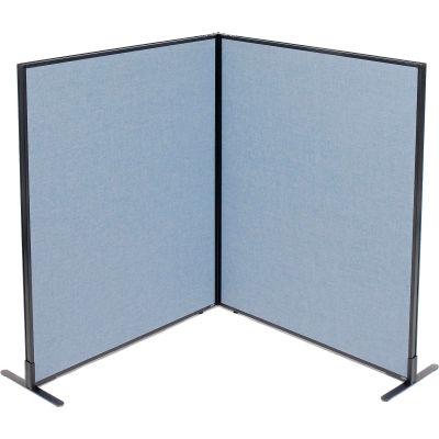 "Interion® Freestanding 2-Panel Corner Room Divider, 48-1/4""W x 60""H Panels, Blue"