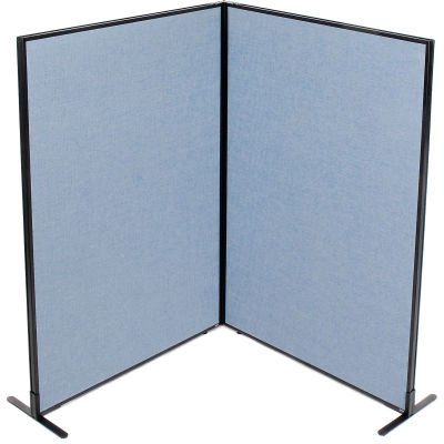 "Interion® Freestanding 2-Panel Corner Room Divider, 48-1/4""W x 72""H Panels, Blue"