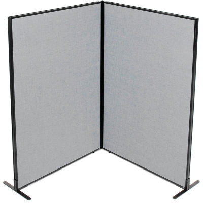 "Interion® Freestanding 2-Panel Corner Room Divider, 48-1/4""W x 72""H Panels, Gray"