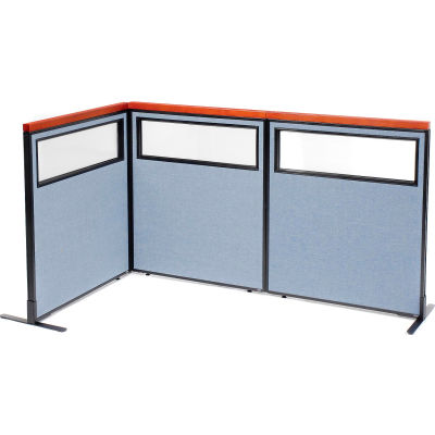 "Interion® Deluxe Freestanding 3-Panel Corner Divider w/Partial Window 36-1/4""W x 43-1/2""H Blue"
