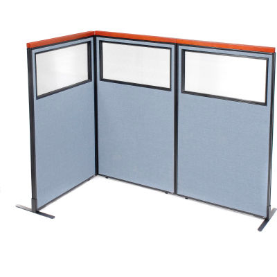 "Interion® Deluxe Freestanding 3-Panel Corner Divider w/Partial Window 36-1/4""W x 61-1/2""H Blue"