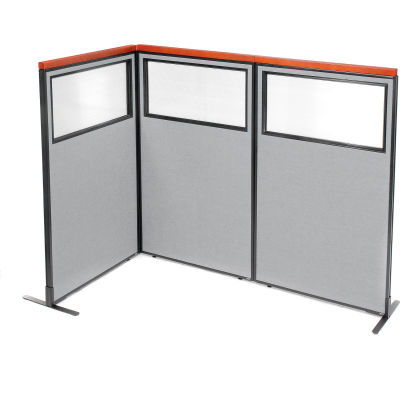 "Interion® Deluxe Freestanding 3-Panel Corner Divider w/Partial Window 36-1/4""W x 61-1/2""H Gray"