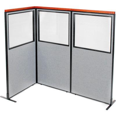 "Interion® Deluxe Freestanding 3-Panel Corner Divider w/Partial Window 36-1/4""W x 73-1/2""H Gray"